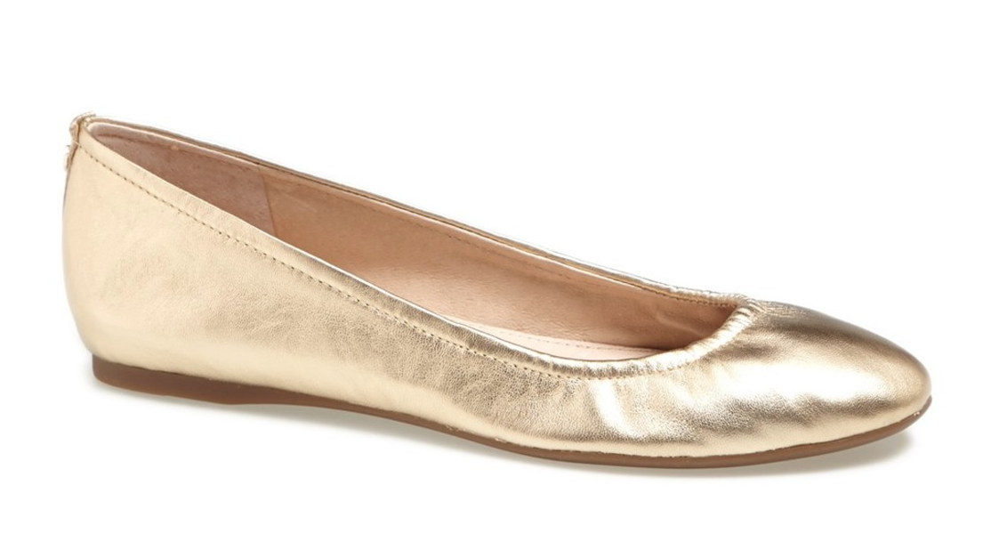 Sam Edelman Women's Rich gold Metallic Leather Noah Flats 6550 Sz 9 M