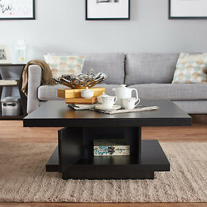 Black Square Coffee Table Open Shelf Storage Modern Wood Living Room Furniture Ebay