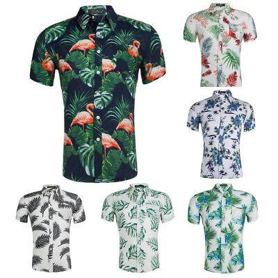 Men Casual Cotton Short Sleeve Print Hawaiian Button Down Aloha Shirt