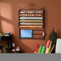 Black Metal Leal Wrapping Wall Mounted Scrapbooking Paper And Craft Storage Rack