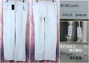 BCBG-MaxAzria-VAPOR-Pants-Size-Medium-Shiny-Silver-Stripe-Running-31-034-Inseam-NEW