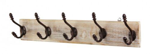 Antique Wandgarderobe en bois avec 5 crochets-élégante et classique