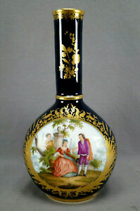 Dresden Wolfsohn Hand Painted Courting Couple Cobalt & Gold 12 Inch Vase B
