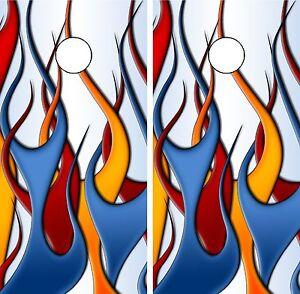Flaming Fire Cornhole Board Decal Wraps
