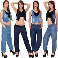 Damen Jeans Pumphose Jeanshose Aladinhose Harem Pump Hose Boyfriend J130