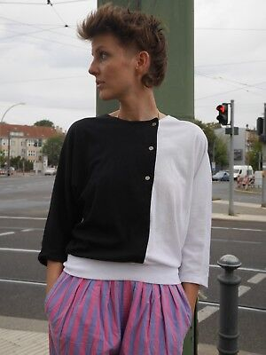 Zigras S Shirt Nero/bianco 80er New Wave Batwing True Vintage Top Sweater 80s-