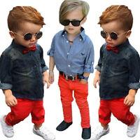 2PCS/Set Kids Toddler Boy Handsome Denim T-shirt Tops+Long Pants Clothes Outfits