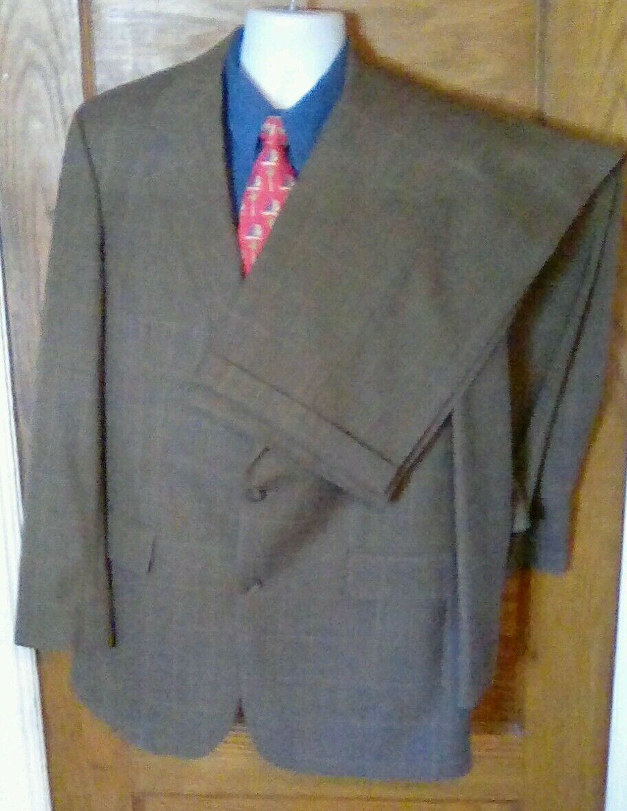 EUC Brooks Brothers 2 Button Braun Windowpane 100% Wool Suit 42L 42 L 36W 29L