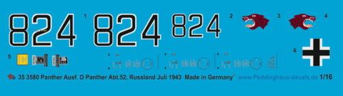 52 Russland  Juli 194 Peddinghaus-Decals 1//16 3580 Panther Ausf D Panther Abt