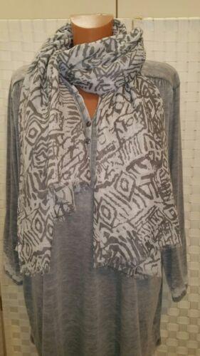 Besty Schal Tuch grau weiß-ecru  90x180  NEU  Viskose Baumwolle