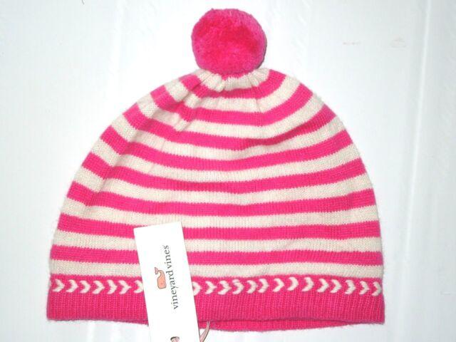 2922dec05262e Vineyard Vines Rhododendron Pink Stripe Beanie Hat L   XL Retail for ...