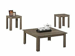 Monarch Specialties I I 7913P 3-Piece Reclaimed-Look Square Table Set Dark Taupe