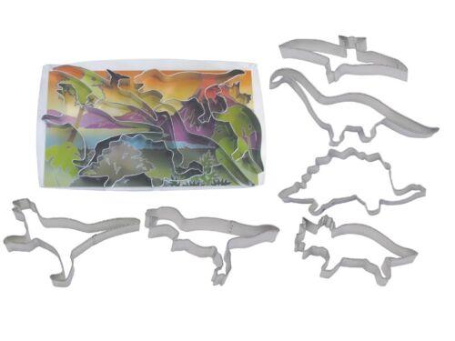 6 Set Dinosaurs R/&M Tinplated Steel Cookie Cutter 1974