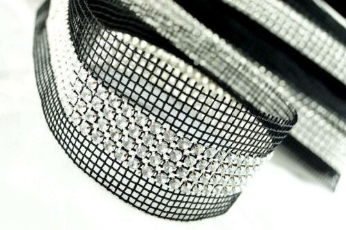 9 Metres × 4-Row Rhinestone Banding Insertion Trim Black Net