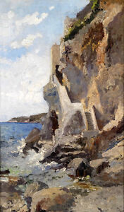 Exquisite-Oil-painting-impressionism-seascape-by-beach-with-waves-rocks-canvas
