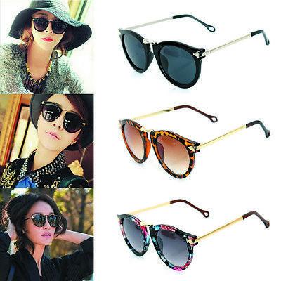 Fashion Women Sunglasses Round Glass Retro Plastic Frame Arrow Glasses Eyewear