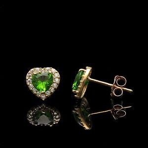 88b23ad598822b 1Ct Heart Peridot Green & Created Diamond Halo Earrings 14K Yellow ...