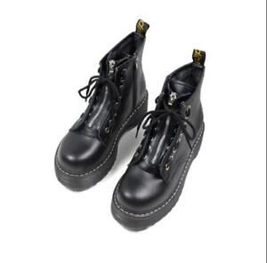 ac71234fd41 Image is loading Womens-Creepers-Chunky-Cleated-Platform-Front-Zip-Warm-