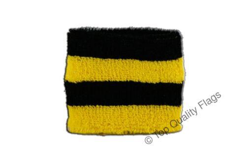 WRISTBAND Stripe black yellow Flag SWEATBAND 7x8cm