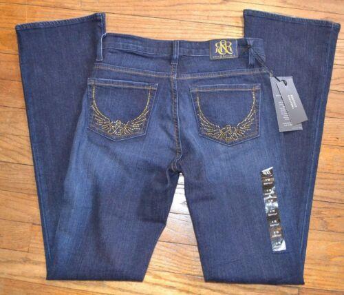 Rock /& Republic Jeans Bootcut Kasandra Low Rise Slim Fit Dark Blue Gold Accent