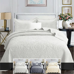 Colcha-de-algodon-acolchado-cama-Tirar-solo-doble-King-Size-Juego-De-Cama-amp-Almohadas