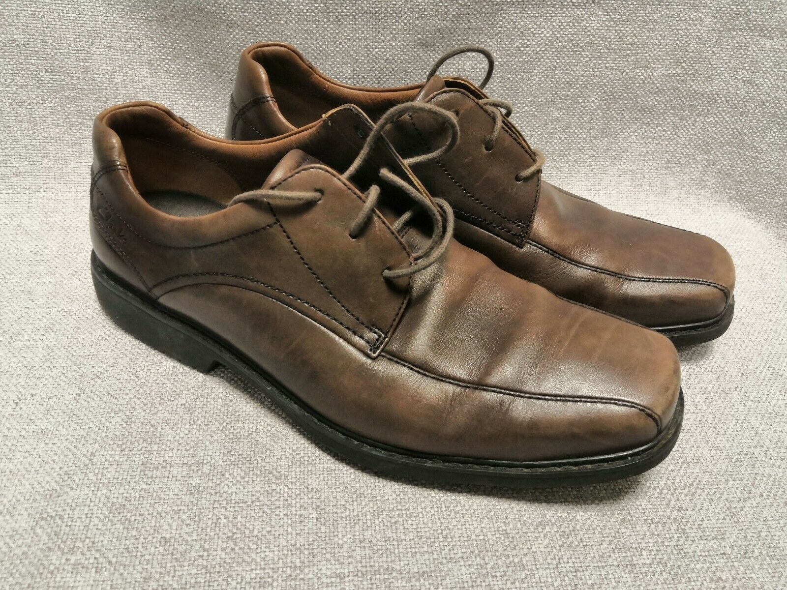 MENS CLARKS BROWN LEATHER SHOES SIZE 8.5 UK