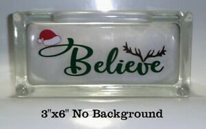 Christmas Vinyl Decals For Glass Blocks.Details About Believe Cute Santa Hat Christmas Vinyl Decal Sticker For Glass Block Or Frame