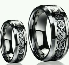 His hers Wedding Ring Sets 6/8mm Tungsten Silver Dragon Celtic Scroll