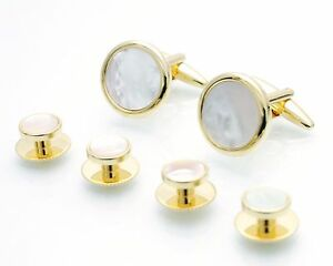 Boxed-Gold-Mother-of-Pearl-Shirt-Studs-amp-Cufflinks-Dress-Studs-Screw-Back