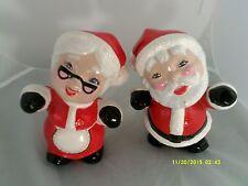 "Mr. & Mrs SANTA CLAUS Ceramic CHRISTMAS Figurines 7""X5""-RED/WHITE/BLACK Used"