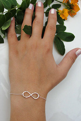 Fashion Infinity Silver Bracelet Chain Charm Jewelry Simple Inspired Women gift