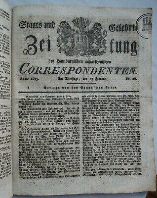 Antik 1825 Hamburgensia Hamburg Nachrichten Zeitung Buch PüNktliches Timing