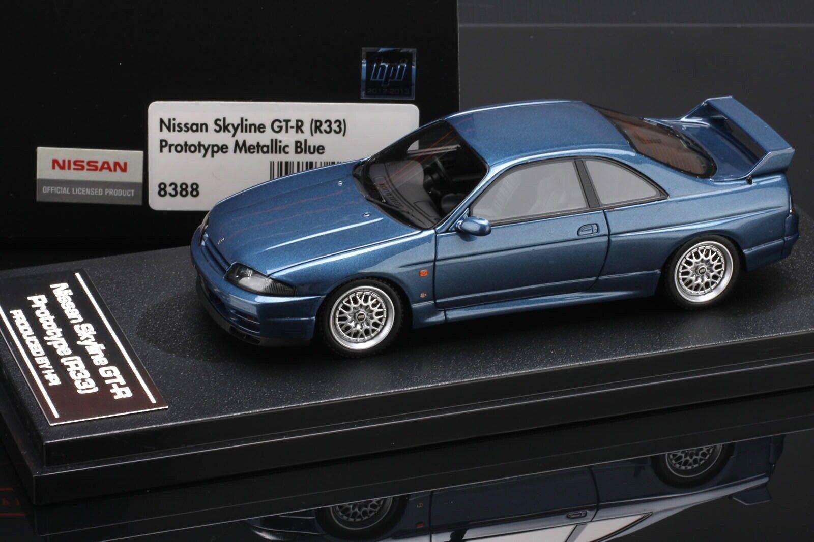 Nissan Skyline R33 GT-R blu Metálico -- Hpi Resina 1 43