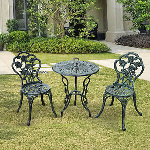 Outsunny Bistro Set Patio Table Chair Antique Metal Seat