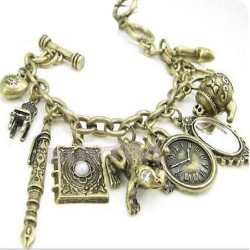Hot Sale Antiqued Bronze Mirror Teapot Frog Clock Mixed Charms Bracelet JX