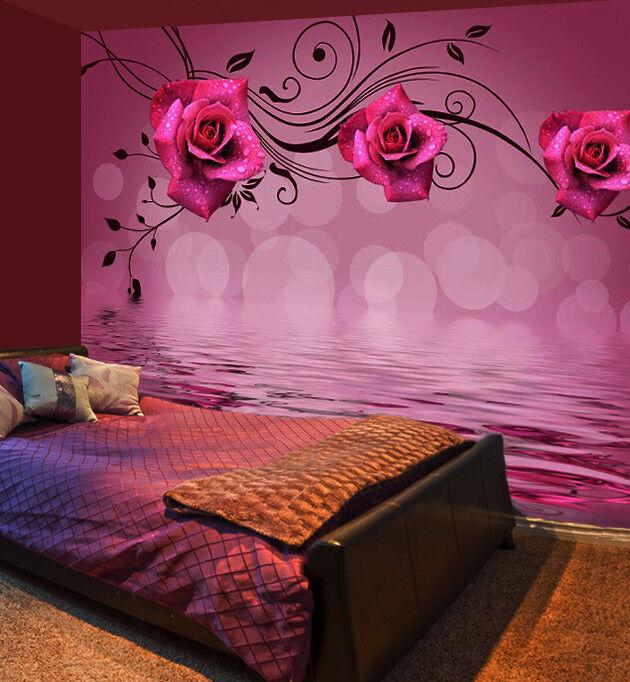 3D ROT Flower Flower Flower Water 74 Wallpaper Mural Wall Print Wall Wallpaper Murals US Carly cf010a
