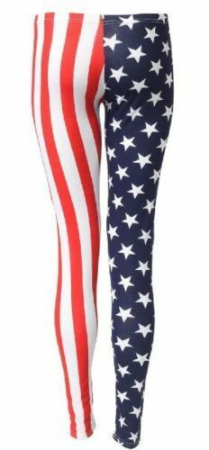 NEW Girls LADIES//WOMENS AMERICAN USA FLAG STARS /& STRIPES LEGGINGS and PANTS