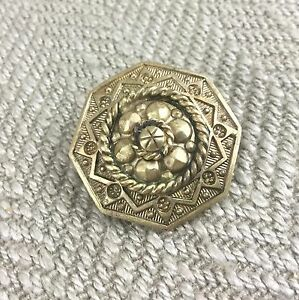 Antique-Victorien-Broche-Pinchbeck-Vergold-Orne-19th-Siecle