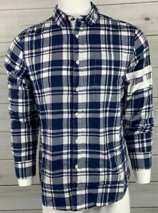 American-Rag-Men-039-s-Button-Down-Shirt-Navy-Blue-White-Check-NWT-MSRP-45-A6419