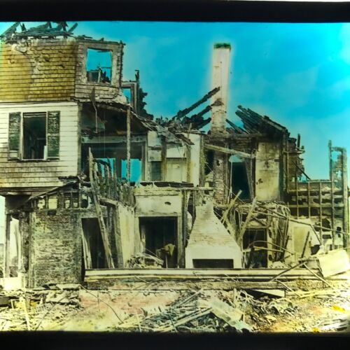 Vtg Magic Lantern Glass Slide Photo Hand Colored House Destroyed By Fire Home