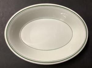 Vintage Carr China 3 Green Stripe Oval Serving/Vegetable Bowl Restaurant Ware A