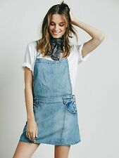 FREE PEOPLE SAVANNAH CHAMBRAY JUMPER Denim Apron Dress Overall Skirt 6