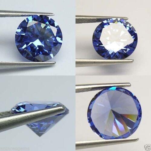 Lab Tanzanite Blue  Diamond AAA N114 IF 11 cts Huge Round 12 mm