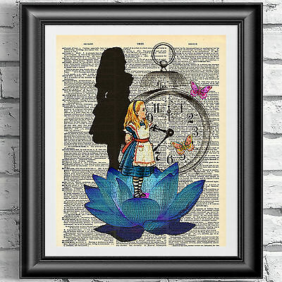 Original art print on dictionary book page Alice in wonderland blue lotus flower