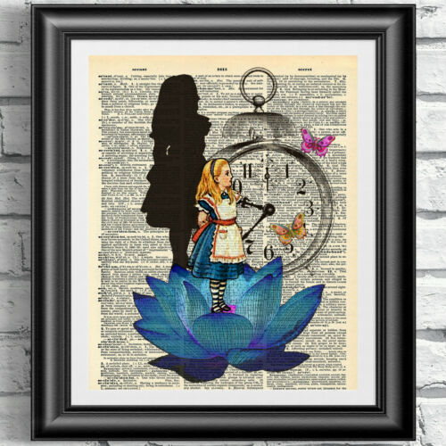 ORIGINAL ART print on ANTIQUE dictionay book page ALICE IN WONDERLAND Blue Lotus