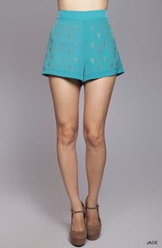 NEW Umgee High Waist Dressy Shorts Rhinestone Crosses Jade Green Womens S M L