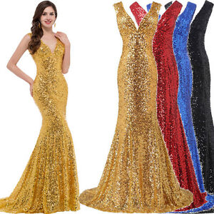 New Prom Mermaid Tail Evening Party Formal Sequin Bridesmaid Wedding Long Dress