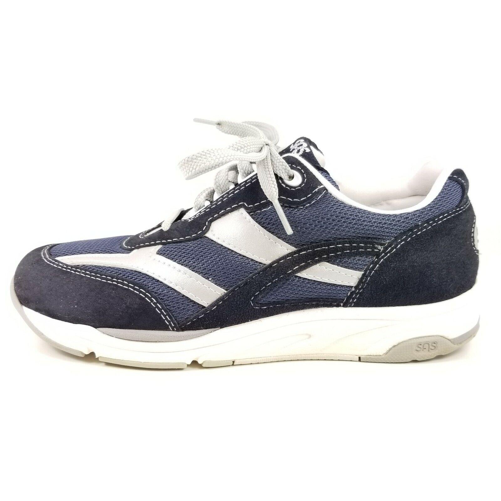 SAS Journey Mesh Sneakers Leather Mens Walking shoes blueee Low Heel EUC Size 7 W