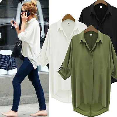 XS-5XL Celeb Style Chiffon Shirt Button Down Collar Long Sleeve Loose Top Blouse