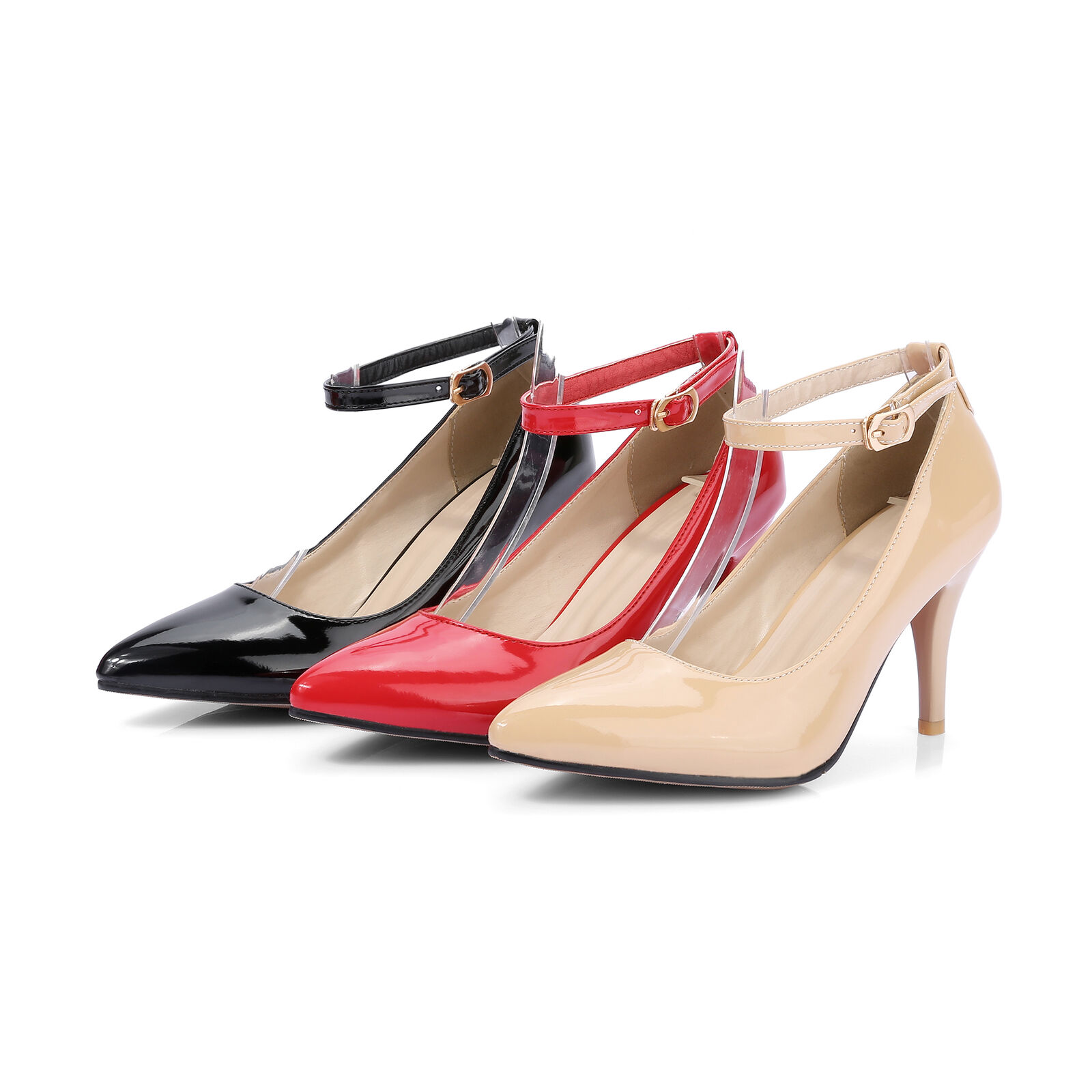 Ladies High Heel Pointed Toe shoes Patent Leather Ankle Strap Pumps UK Size D391